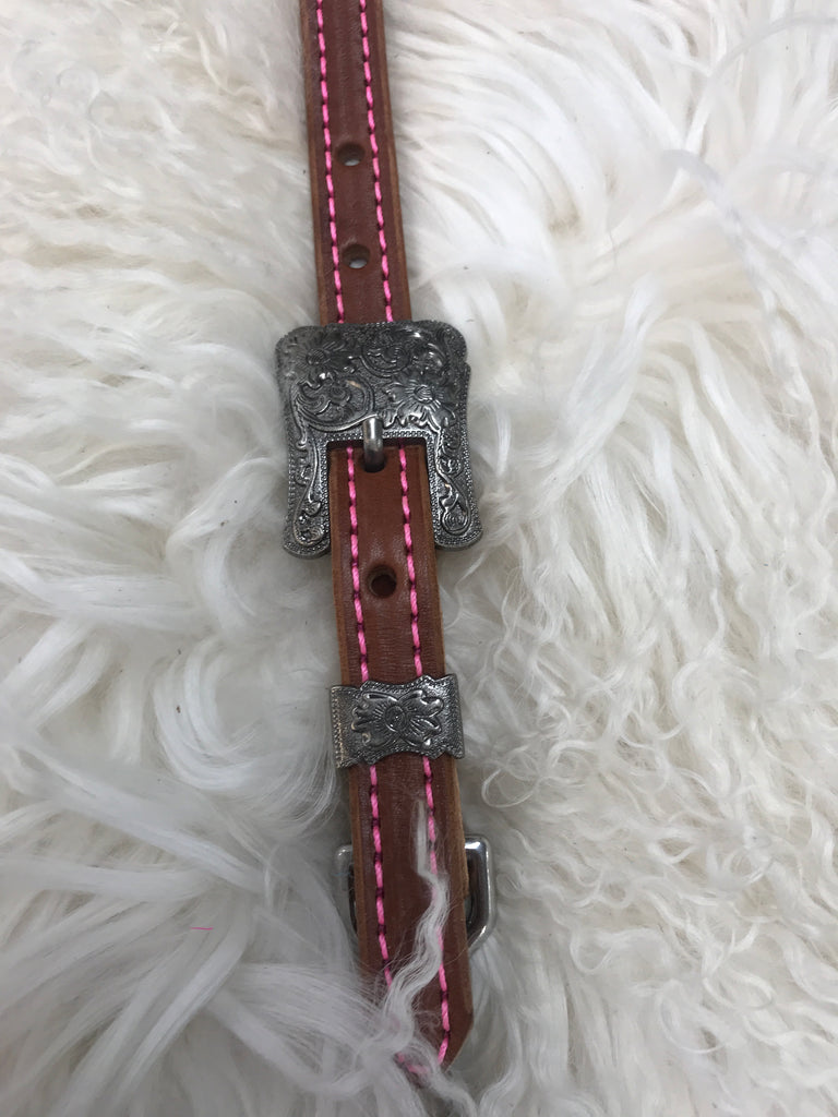 Wither strap medium with hot pink and antique 2 pc square  buckle