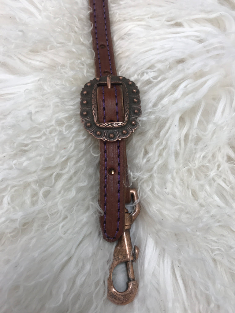 Wither strap medium with purple and copper berry buckle