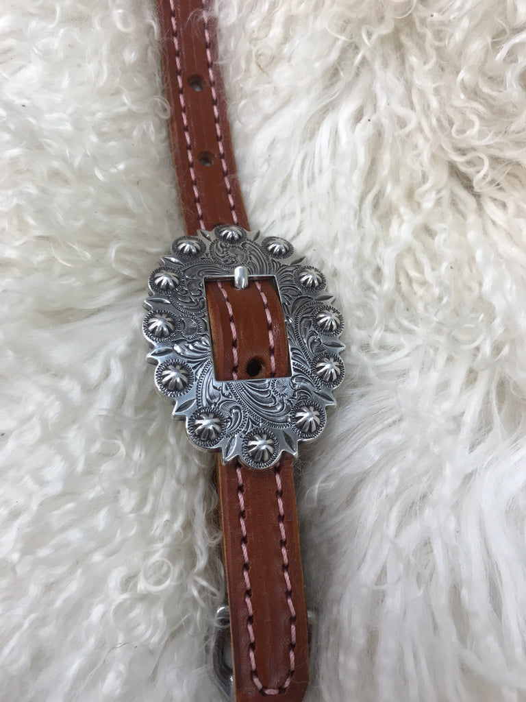 Wither strap chestnut with pink with  berry  cart buckle