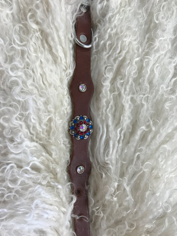 Extra Small dog collar- Red, blue, crystal AB