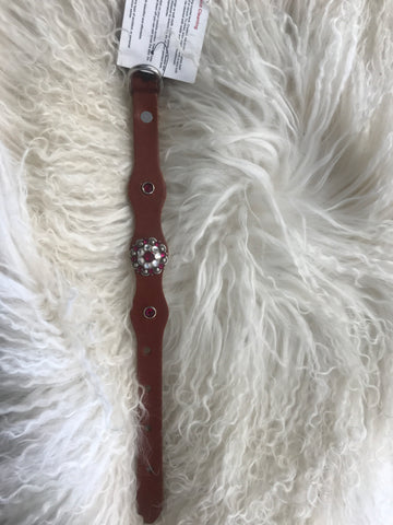 Extra Small dog collar- ruby and crystal