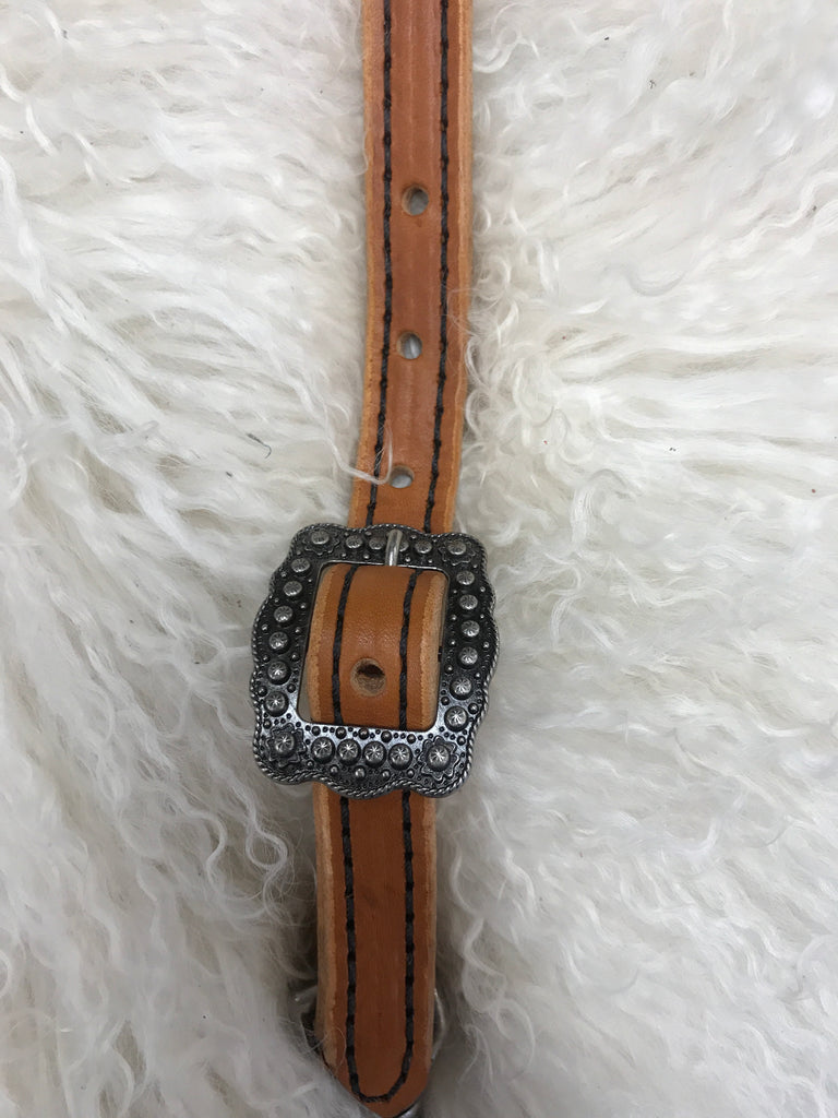Wither strap tan with black and antique berry buckle