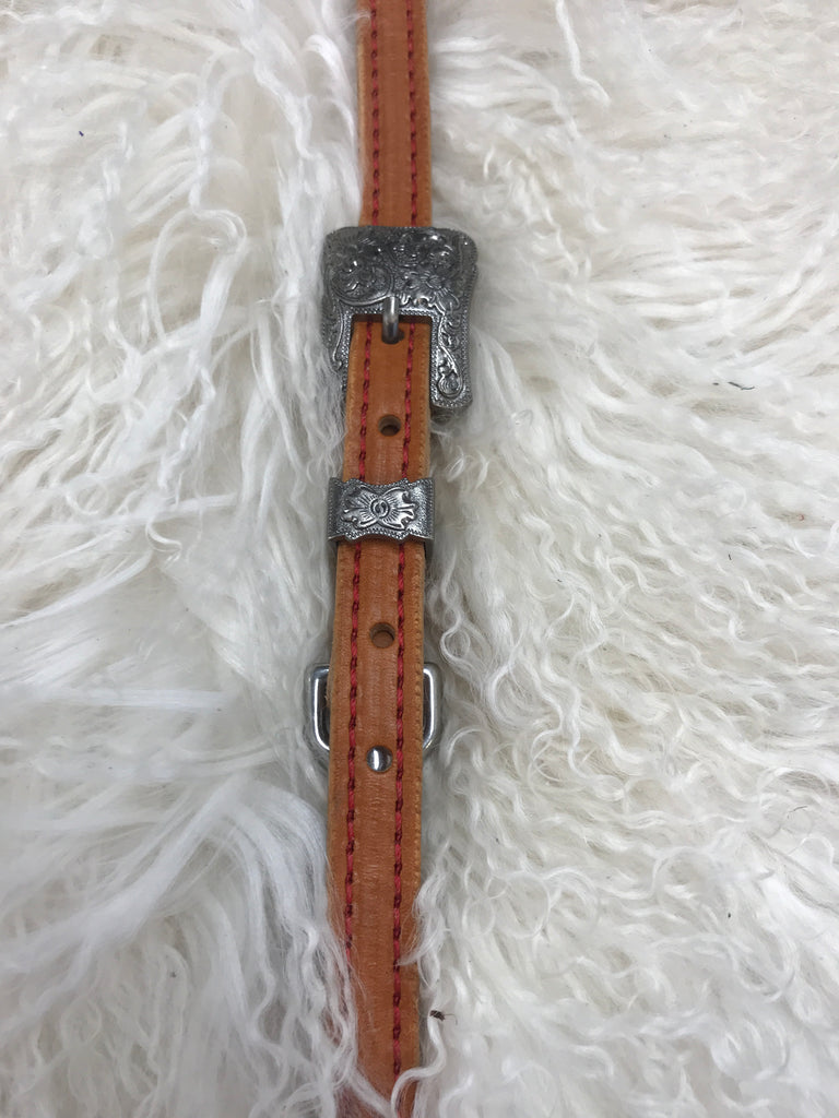 Wither strap tan with red and antique 2pc buckle