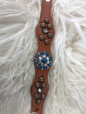 Extra Small dog collar- blue and crystal