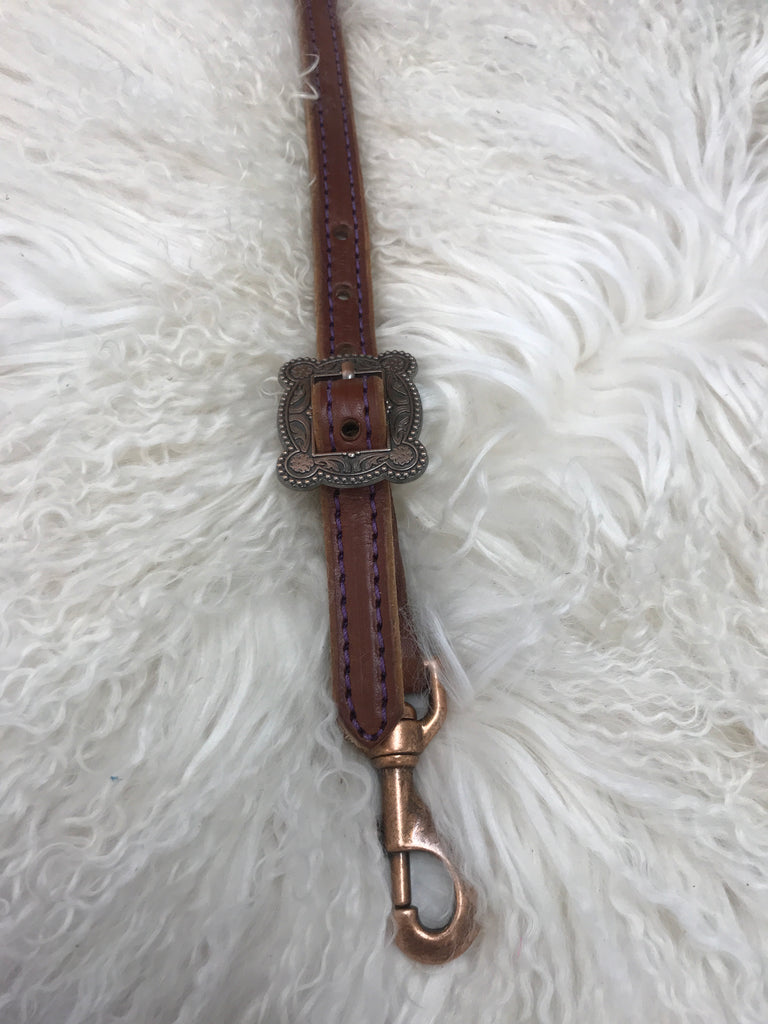 Wither strap medium with purple and copper cart  buckle