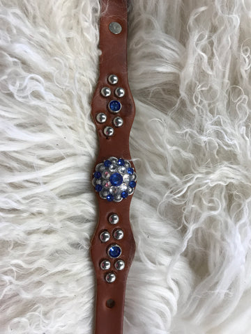 Extra Small dog collar- sapphire and crystal  on chestnut