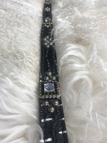 Youth belt black with silver gator   26-30 inches