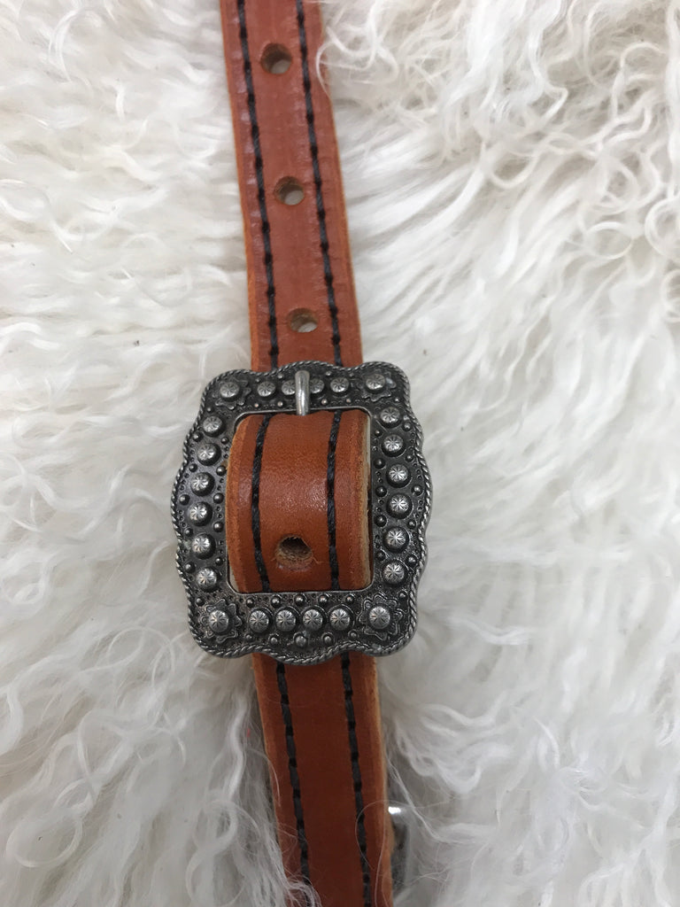 Wither strap chestnut with black with berry  cart buckle