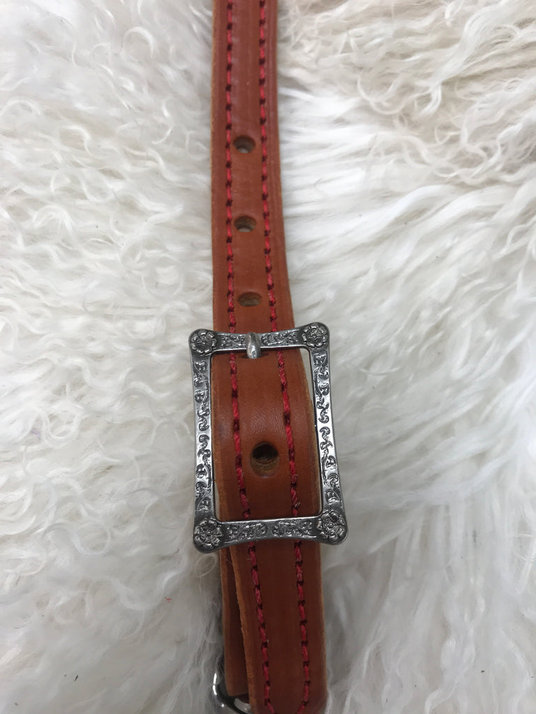 Wither strap chestnut with red with square cart buckle