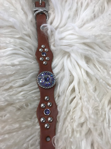 Extra Small dog collar- purple and crystal AB