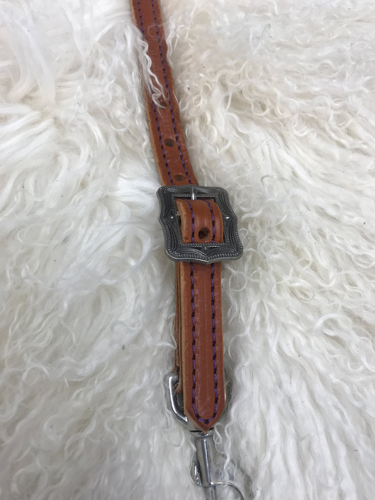 Wither strap chestnut with purple antique square buckle
