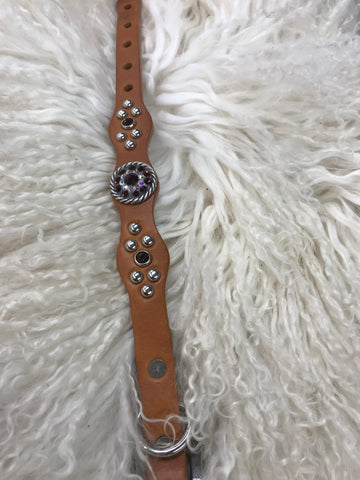 Extra Small dog collar- burgundy and crystal AB