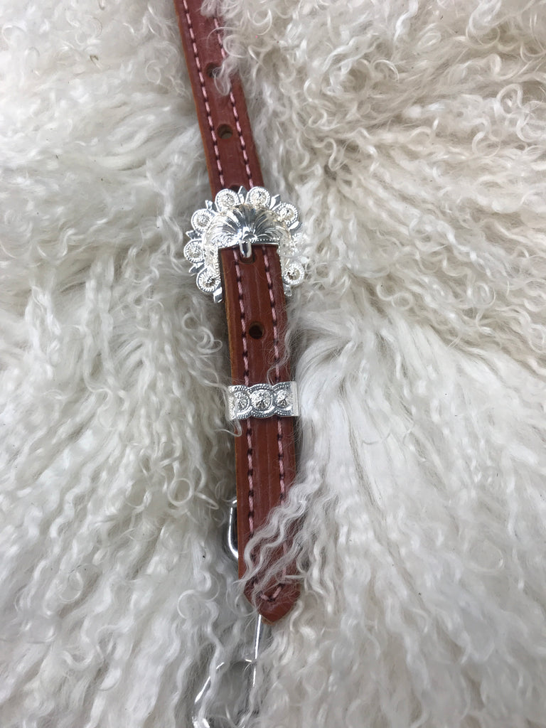 Wither strap chestnut with  pink with shiny berry  buckle