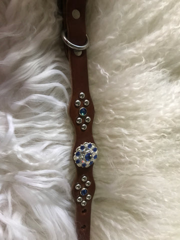Extra Small dog collar- sapphire and crystal on medium