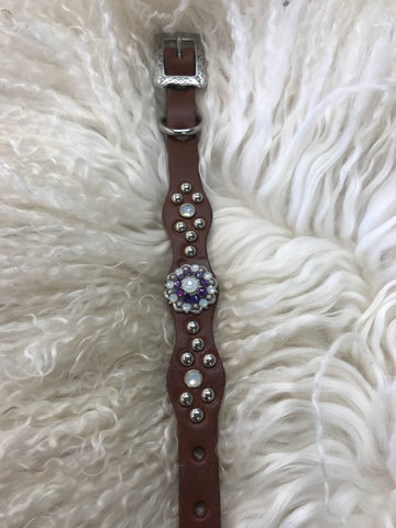 Extra Small dog collar- purple and opal