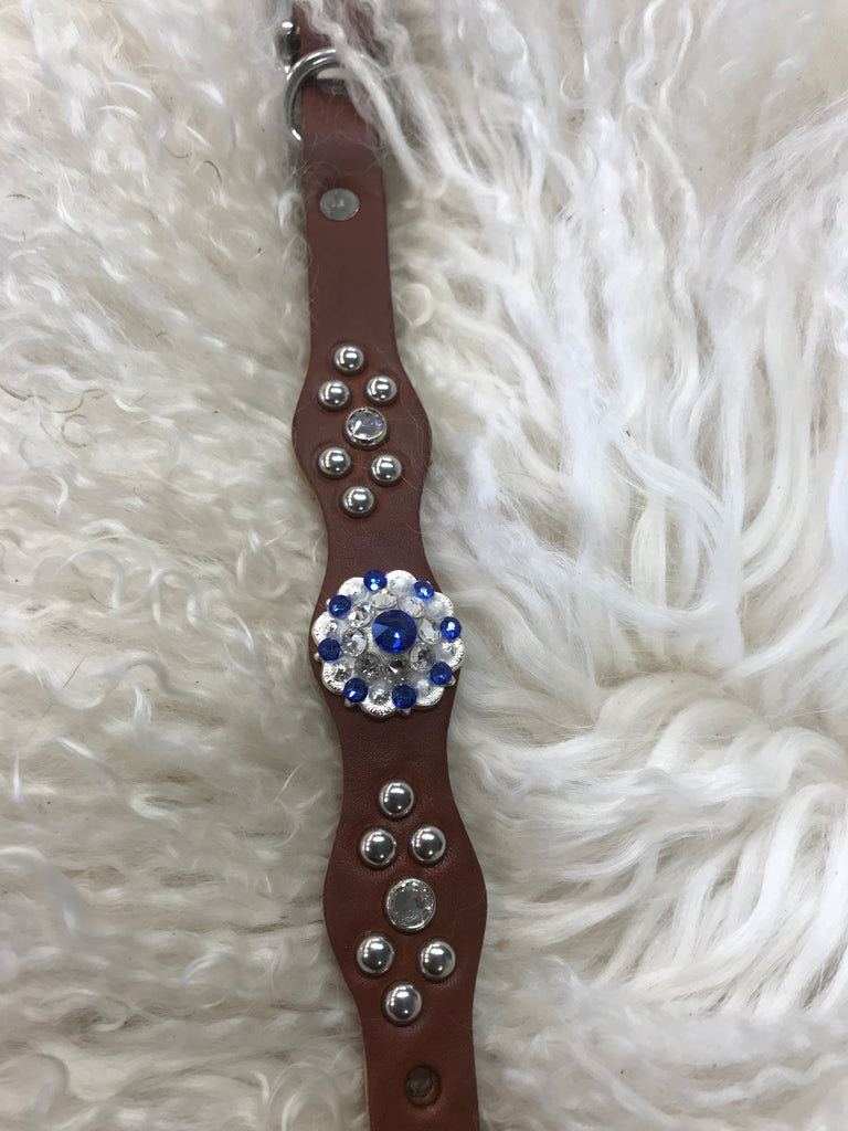 Extra Small dog collar- sapphire and crystal