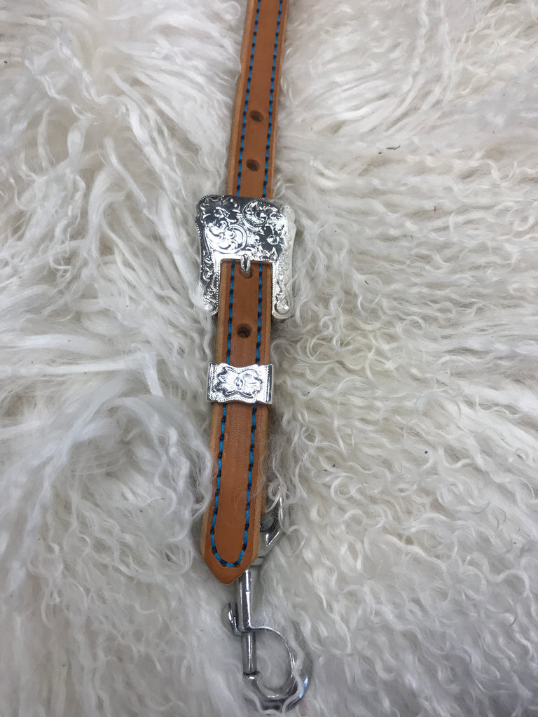 Wither strap tan with turquoise and 2 pc shiny buckle