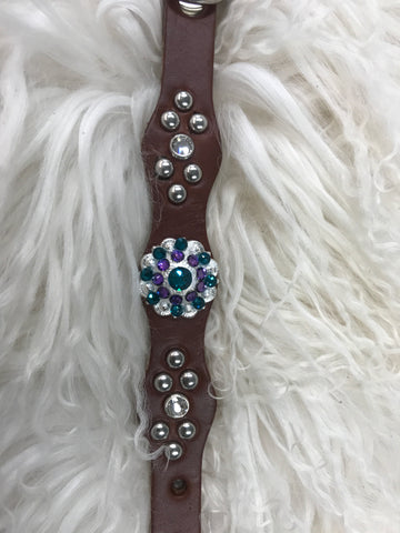 Extra Small dog collar- purple and blue zircon