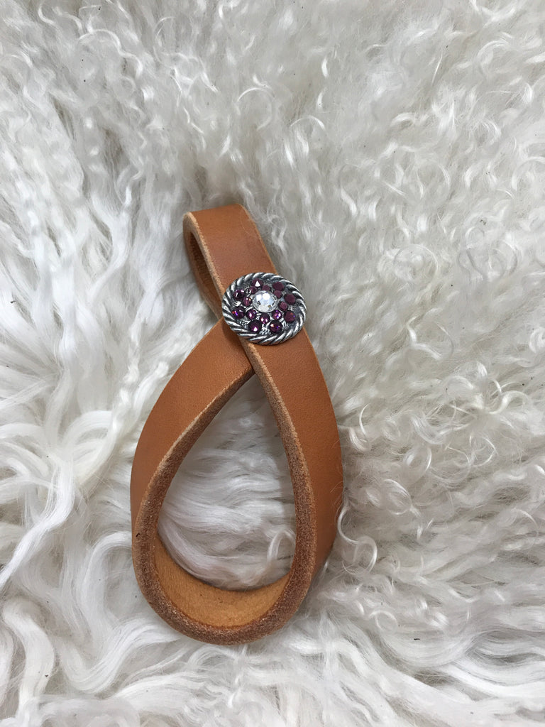Tie down keeper- tan with amethyst and crystal