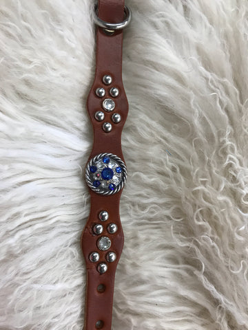 Extra Small dog collar- sapphire on chestnut