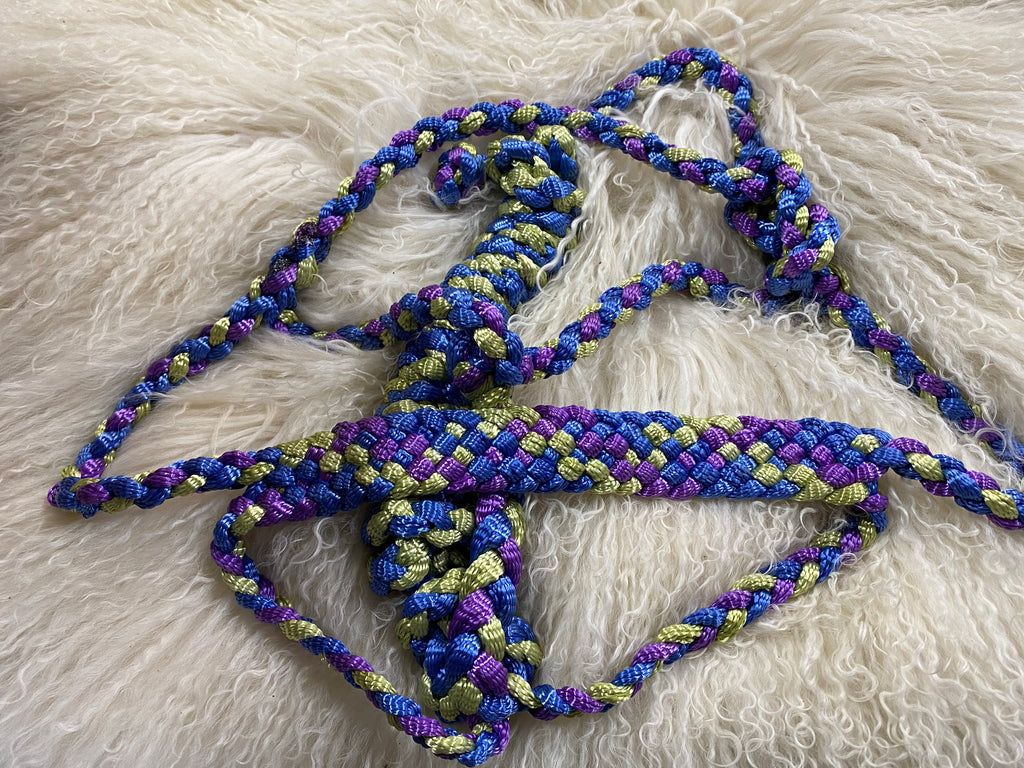 purple, blue, and lime  mule tape halter