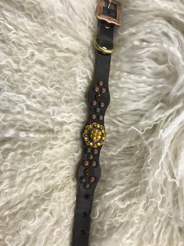 Extra Small dog collar- brown and yellow