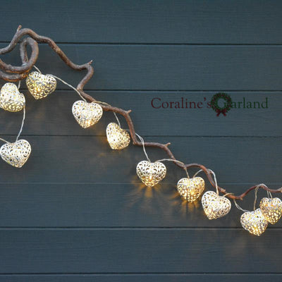 san francisco 16662 65521 20 Metal Heart Shaped LED Fairy Lights Battery Operated