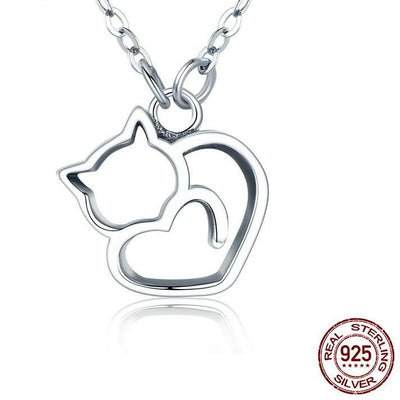 925 sterling silver lovely cat pendant necklace trendy shop deals 925 sterling silver lovely cat pendant necklace aloadofball Choice Image