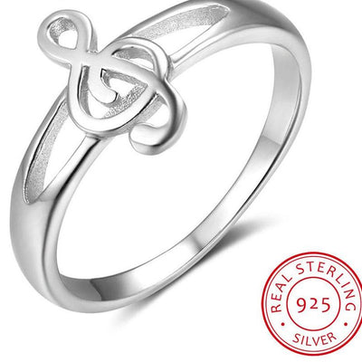 Music Note Ring Solid 925 Sterling Silver Trendy Shop Deals