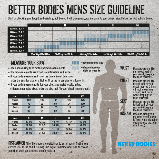 Better Bodies Mens Size Chart