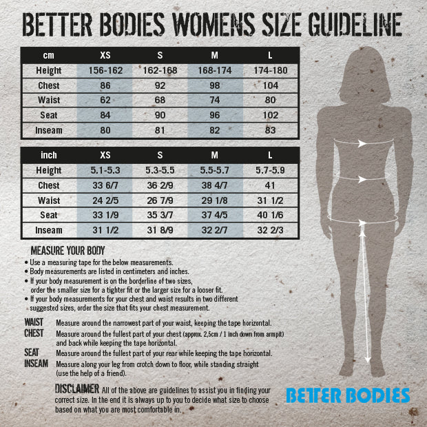 Better Bodies Ladies Size Guide