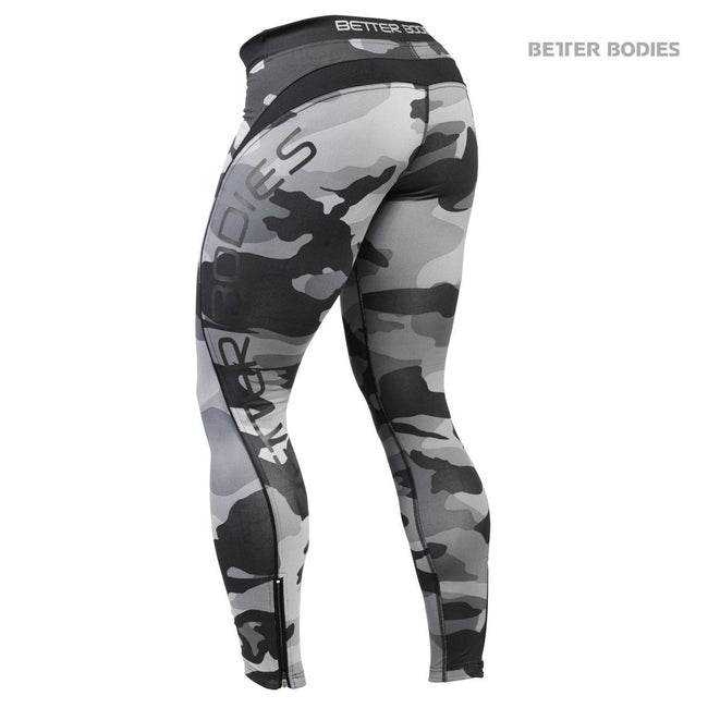 Better Bodies Camo Long Tights Grey Back