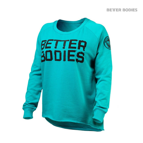 Better Bodies Women's Wide Neck Sweatshirt Aqua Blue