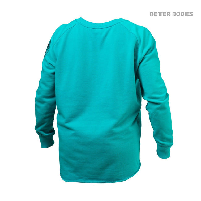 Better Bodies Women's Wide Neck Sweatshirt Aqua Blue Back