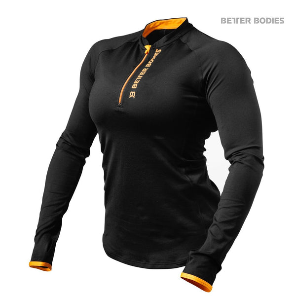 Better Bodies Women's Zipped Long Sleeve Black/Orange