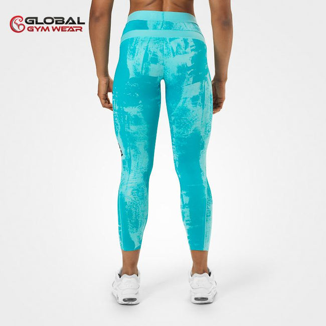 Better Bodies Gracie Curve Tights Aqua Print back
