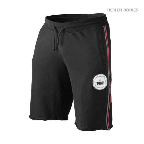 Better Bodies Raw Sweat Shorts, Black/Red