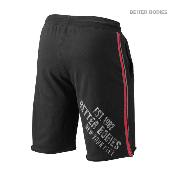 Better Bodies Raw Sweat Shorts, Black/Red Back