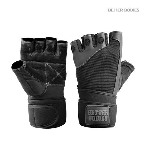 Better Bodies Pro Wriststrap Gloves, Black