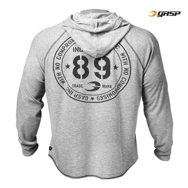 GASP Long Sleeve Thermal Hoodie Grey Back