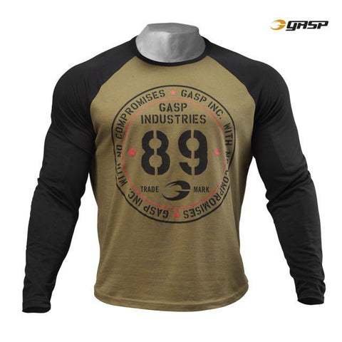 GASP Raglan Long Sleeve Tee, Military Olive