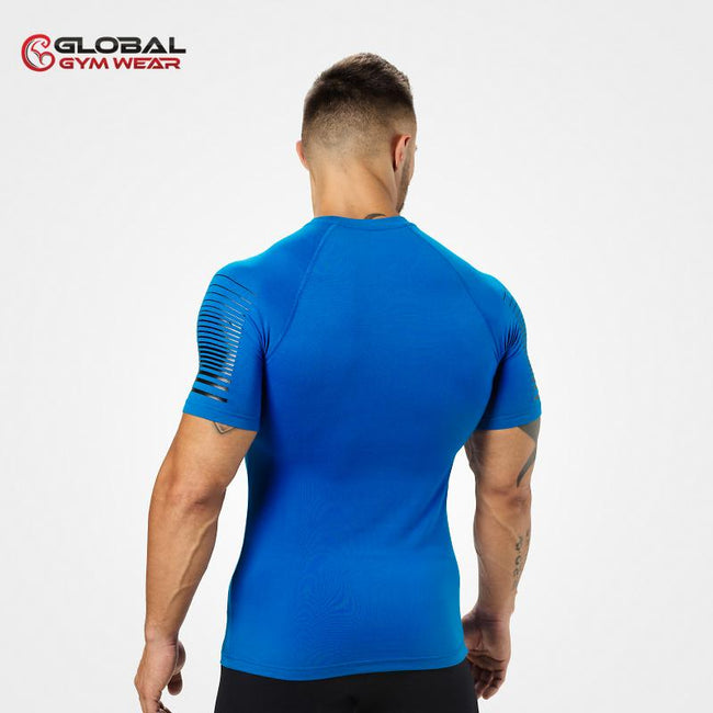 Better Bodies Performance PWR Tee Str Blue back