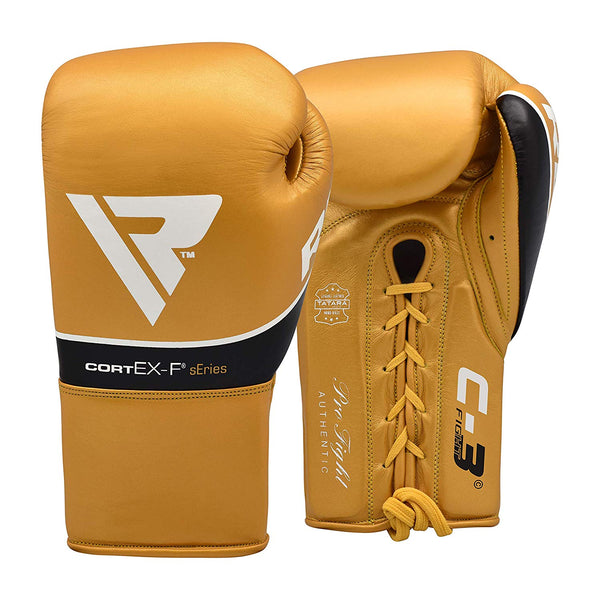RDX Sports BOXING GLOVES LEATHER PRO FC3 GOLDEN