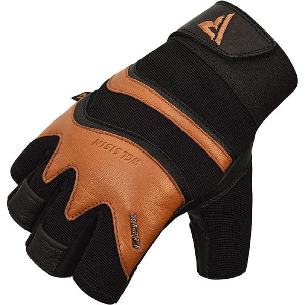 RDX Sports GYM GLOVE LEATHER S15 TAN