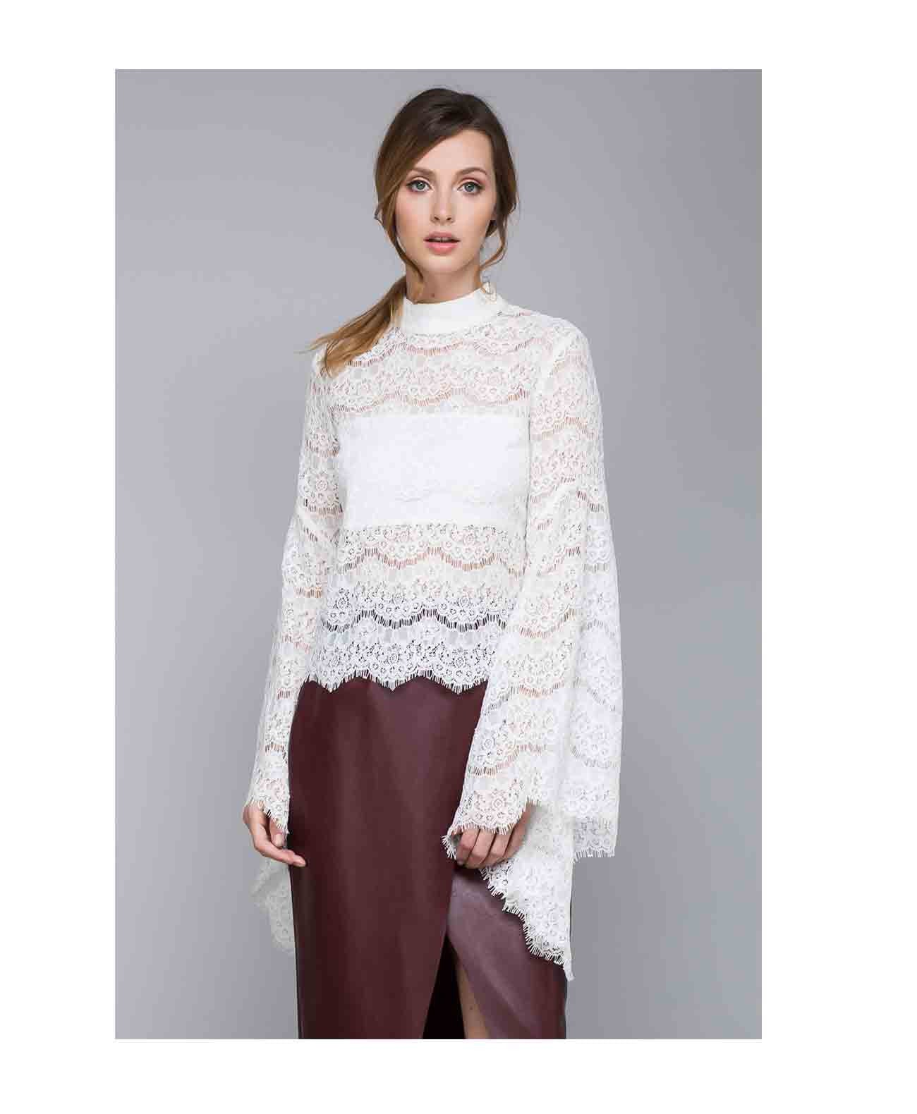 14183 Bell Sleeve Lace Top