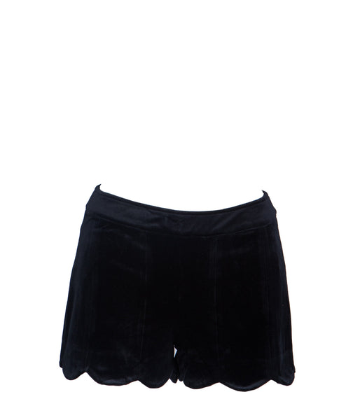 16J996-Black Velvet Scalloped Edge Shorts
