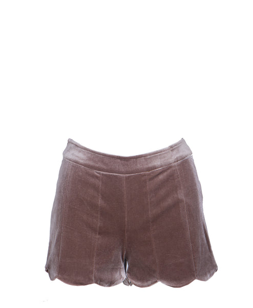 16J996-Bronze Velvet Scalloped Edge Shorts