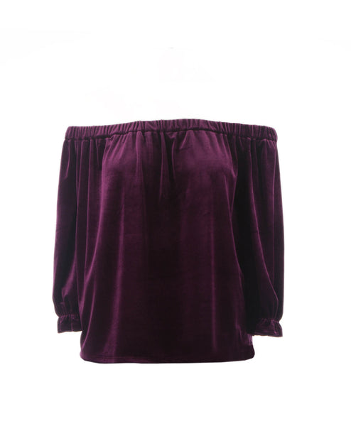 Pacific Off Shoulder Velvet Top Plum