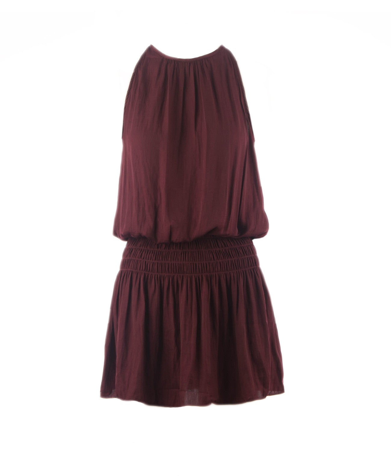 Mia Halter Neck Smocked Waist Dress Wine