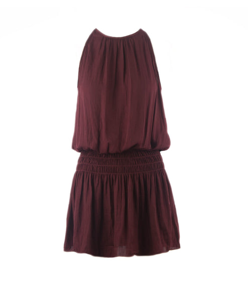 Mia-Wine Halter Neck Smocked Waist Dress